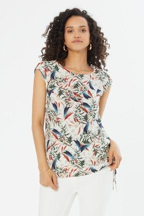 Naramaxx Kadın Beyaz Yaprak Desen Kayık Yaka Sıfır Kollu Bluz 18Y111181267249-Beyaz Yaprak Desen