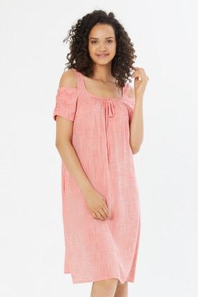 Naramaxx Kadın Nar-Çiçeği Omuz Detaylı Kısa Kol Elbise 18Y11112Y988085-Nar-Çıçegı