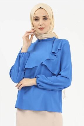 Setrms Dik Yaka Volan Yakalı Bluz