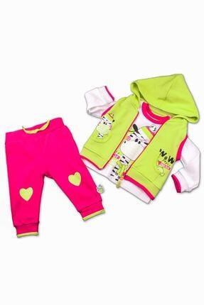 Miniworld Miniworld Kız Çocuk Sweatshirt Pantolon Hırka 3lü Takım 6-24 Ay 14797