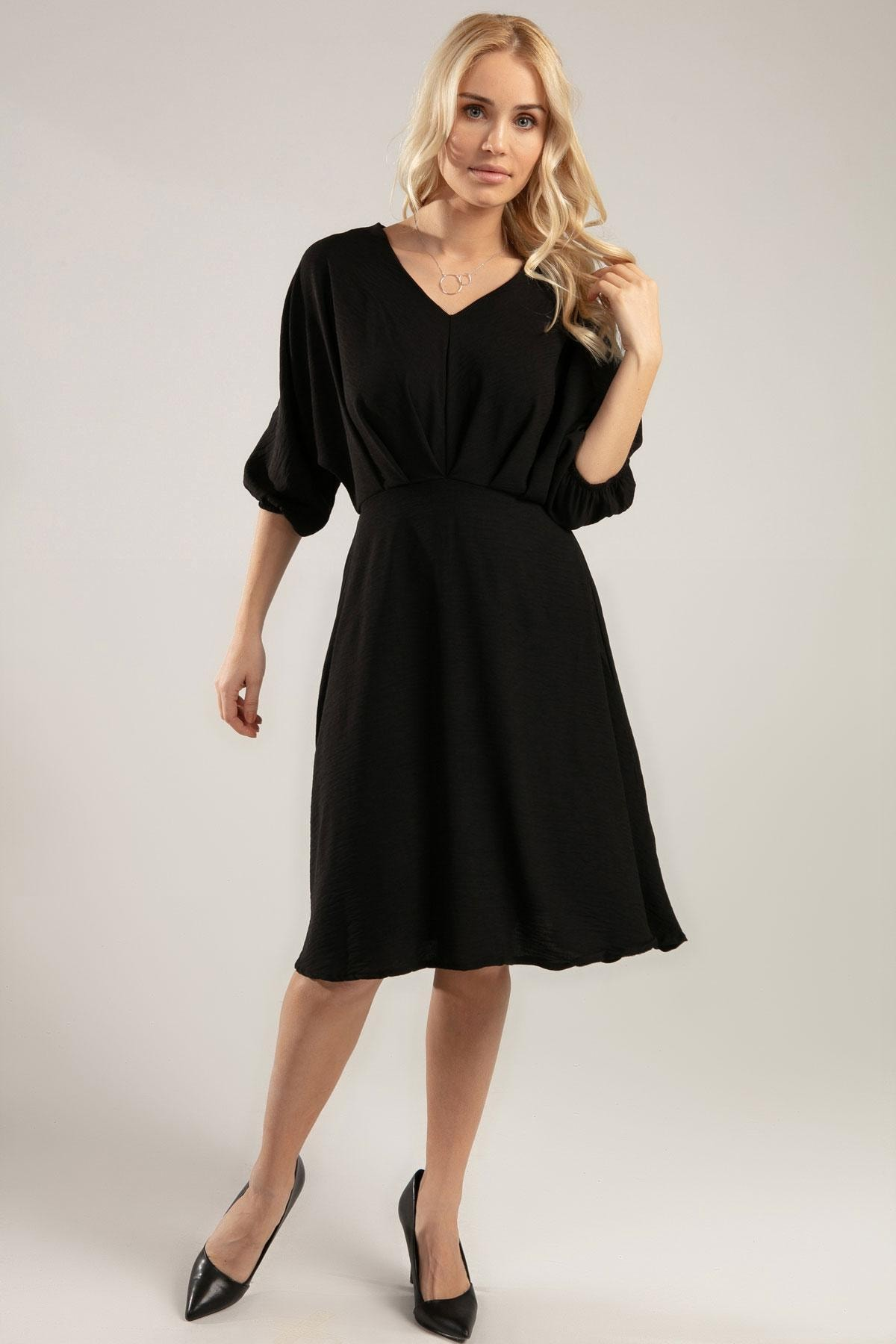 Y-London Kadın Siyah Bol Kesin V Yaka 3/4 Kol Krinkıl Elbise Y20S126-10590