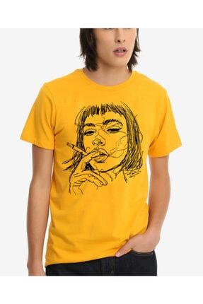 Köstebek Unisex Sarı Drawing Smoking Girl T-shirt