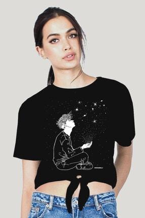 Rock & Roll34 Yıldızların Altında Siyah Kesik Crop Top Bağlı Kadın T-shirt