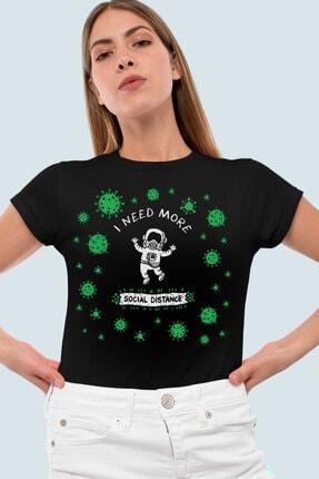 Rock & Roll34 Uzayda Covid Siyah Kısa Kollu Kadın T-shirt