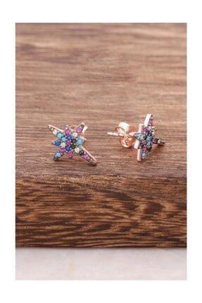 Sümer Telkari Kuzey Yıldızı Mix Taşlı Rose Gümüş Küpe 3747