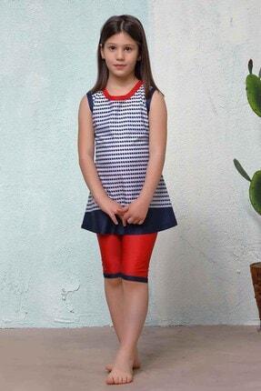 Haşema Lacivert Desenli Kız Çocuk Mayo