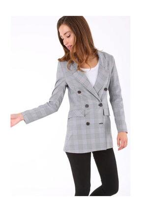 Bigdart Kadın Ekose Pembe Oversize Ceket 631