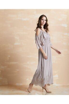 Serpil Kadın Vizon Işlemeli Fırfırlı Elbise 30723