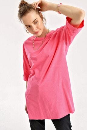 Bigdart Kadın Kol Katlı Yırtmaçlı Salaş T-shirt 4123