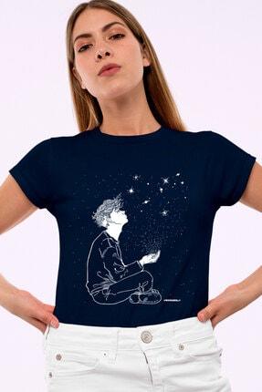 Rock & Roll34 Yıldızların Altında Lacivert Kısa Kollu Kadın T-shirt