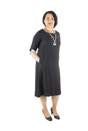 Günay Giyim Kadın Lacivert Keten Elbise 77203200001710