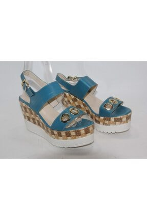 İnci Kadın Açık Mavi  Hakiki Deri Sandalet