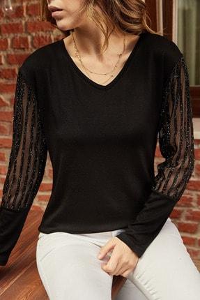 Xhan Kadın Siyah Kolları Aksesuarlı Bluz 9yxk2-41934-02