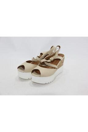 İnci Kadın Krem 39 Numara Hakiki Deri Sandalet