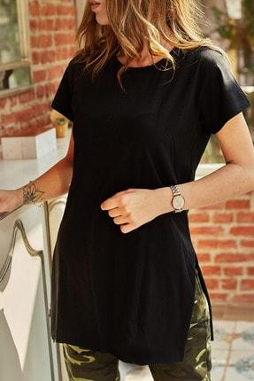 Xhan Kadın Siyah Yırtmaçlı Bisiklet Yaka T-shirt 9YXK1-41909-02