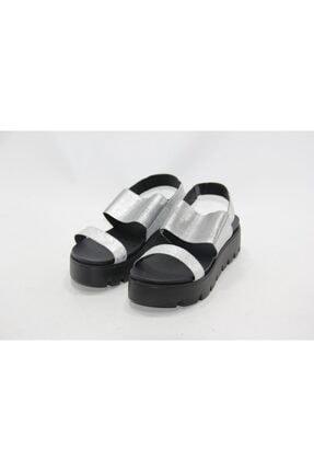 İnci Kadın Gümüş 39 Numara Hakiki Deri Sandalet