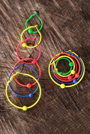 TAKIŞTIR 6 Çift Çok Renkli Boncuklu Halka Küpe Set