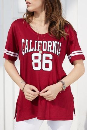 Xhan Kadın Bordo California Baskılı T-Shirt 0YXK2-43461-05