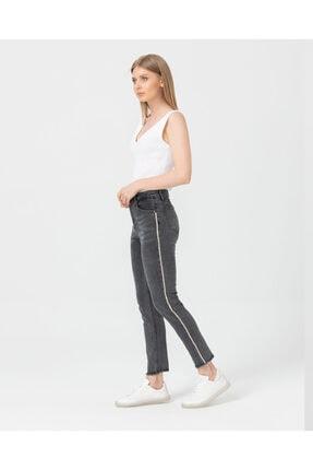 Seçil Şerit Taş Detaylı Denim Siyah Pantolon