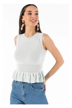 Tiffany A0152 Eteği Fırfırlı Kolsuz Bluz