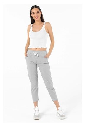 Tiffany Y20012 Beli Paçası Lastikli Çizgili Pantolon