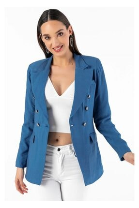 Tiffany A0154 Sivri Yaka Keten Ceket
