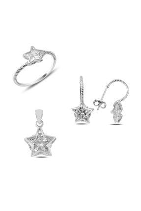 Silverella Gümüş 925 Ayar Zirkon Taşlı Yıldız Set