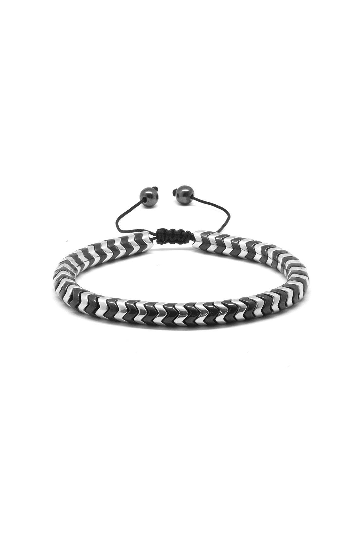 Tesbihane Yılan Tasarım Black-Silver Hematit Doğaltaş Bileklik 104000566