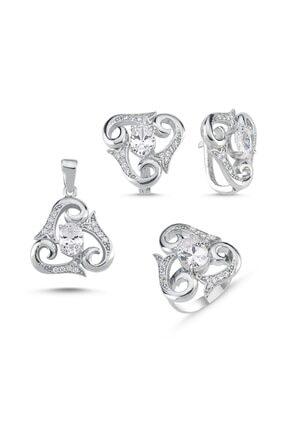 Silverella Gümüş 925 Ayar Zirkon Taşlı Üçgen Set