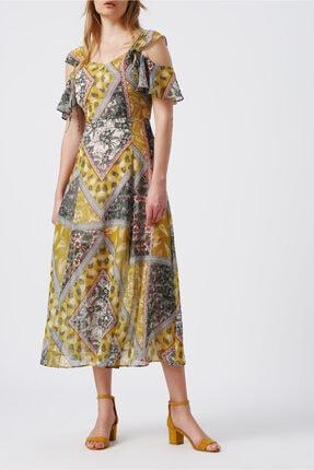 Random Kadın Omuz Dekolteli Kalın Askılı Desenli Midi Elbise
