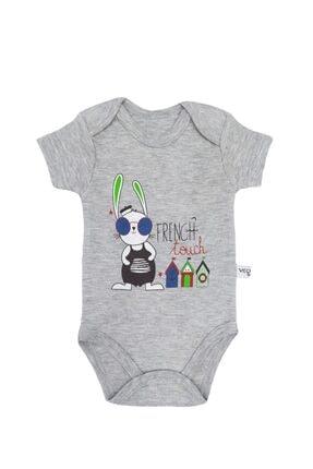 Veo Baby Tanşan Baskılı Kısa Kollu Kız Bebek & Erkek Bebek Body - Badi