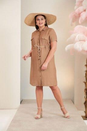 Rmg Bel Bağcık Detaylı Büyük Beden Vizon  Keten Elbise