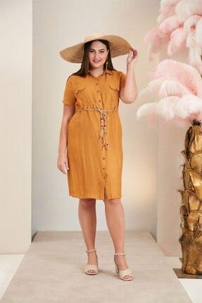 Rmg Bel Bağcık Detaylı Büyük Beden Safran Keten Elbise