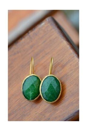 Stoneage Altın Kaplama Jade Doğal Taş Kadın Küpe