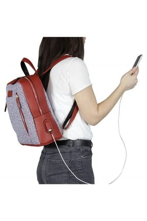 My Valice Smart Bag 1206 Usb Şarj Girişli Kadın Sırt Çantası Kırmızı