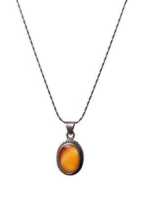 Saff Doğal Taş Akik Kolye Gümüş Zincirli Doğal Taş 210025