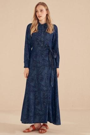 Kayra Yaprak Desenli Tensel Elbise Lacivert B20 23066