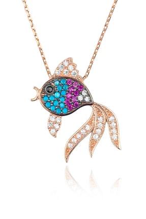 BY BARUN Kadın 925 Ayar Gümüş  Renkli Balık Kolye - Rose KL-0485
