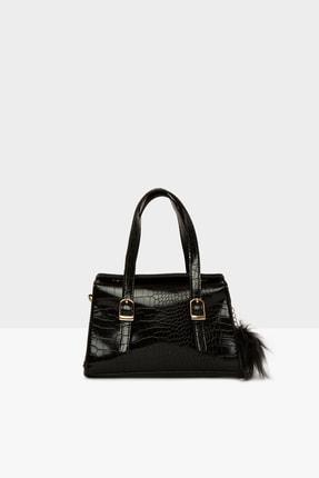 Bagmori Parlak Siyah Kadın Çift Kemer Detaylı Mini Çanta M000004642