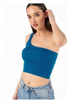Tiffany Kadın Petrol Rengi Basic Tek Omuz Atlet Y15059