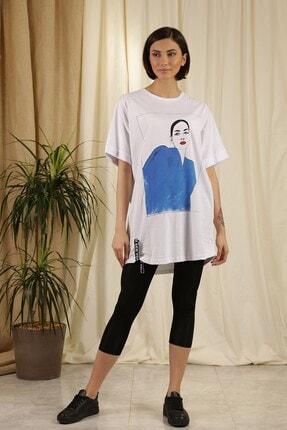 Zindi Kadın Figürlü T-shirt Beyaz
