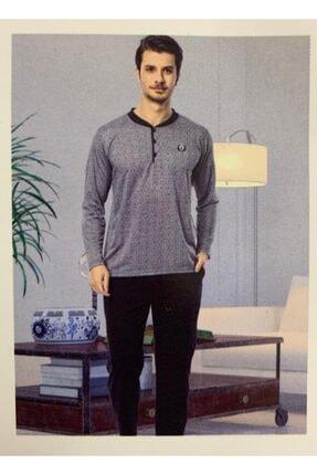Puantiyeli Düğmeli Erkek Pijama Takımı İNCİ-7626