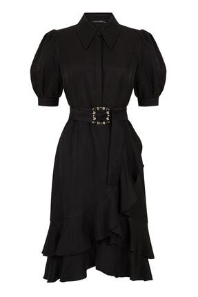 Nocturne Kadın Siyah Karpuz Kol Volanlı Elbise N20Y-2274-0002