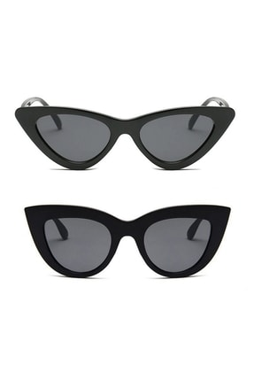 Hane14 Super Set3 2'li Cat Eye Bayan Güneş Gözlüğü Siyah