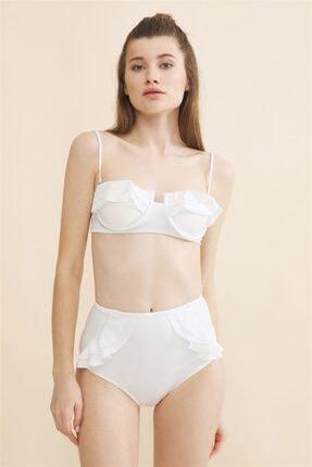 Aquella Kadın Beyaz Fırfırlı Balenli Bikini Takımı