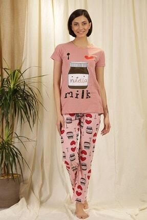 Zindi Kadın Desenli Pijama Takımı Gül Kurusu