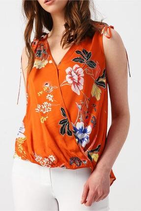 Random Kadın Omzu Büzgü Detaylı Desenli Kruvaze Kolsuz Bluz