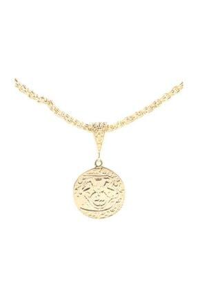 Nusret Takı 925 Ayar Gümüş Aslan Figürlü Madalyon Kolye, Sarı