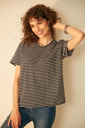 Morpile Kadın Siyah Çizgili Kısa Kol Tshirt