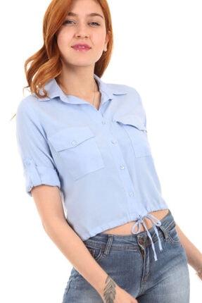 Bigdart Kadın Mavi Çift Cepli Bağcıklı Gömlek 3470BGD19_008